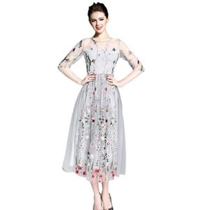 Bohemian Embroidered Tulle Midi Dress (Small)